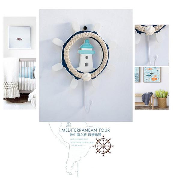 Casa Decoração Ganchos estilo Mediterrâneo casaco gancho azul e branco de madeira velha pintados à mão decoração de casa leme