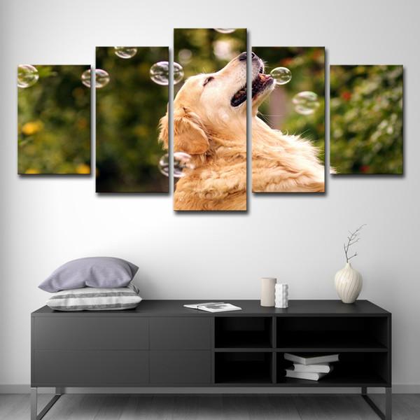 Peintures Sur Toile Mur Art HD Prints Animaux Posters 5 Pièces Chien Jouant Avec Des Bulles Photos Décor À La Maison Enfants Chambre