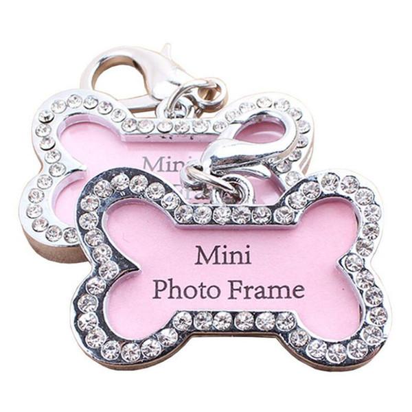 100pcs/lot Zinc Alloy Bone Pet Dog ID Tags Pet Collar Hang Pendants Inlaid with Diamonds