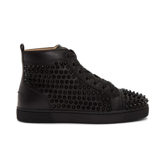 Elegante preto, branco de couro Casual Flats High-top tênis de fundo vermelho sapatos para homens mulheres Designer rebites de lazer Flats