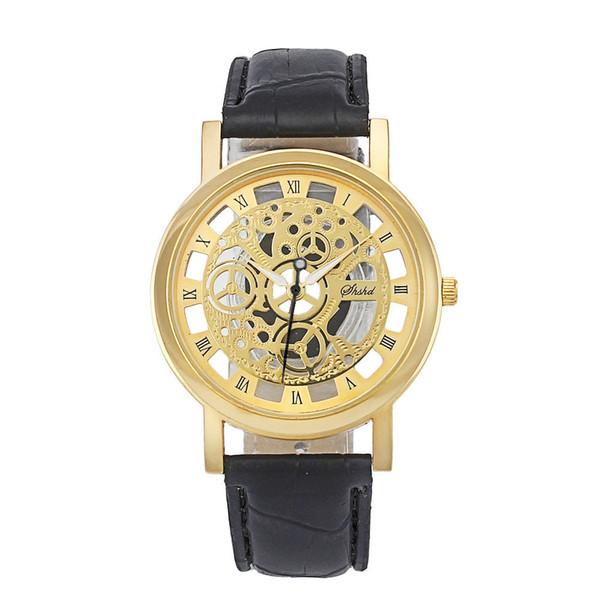 2018 nueva marca de moda vestido de lujo correa de cuero reloj dial grande hombres negocios casual reloj cráneo relogio masculino para hombre chico