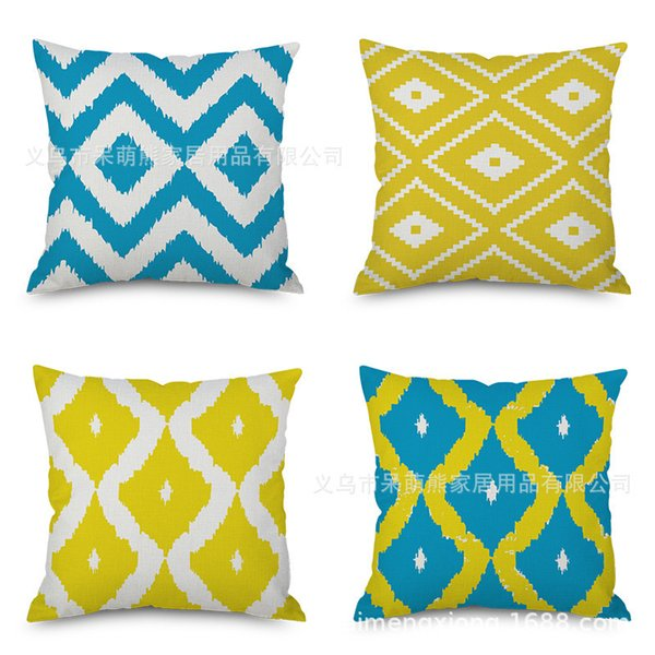 Diamond Flax Geometry Northern Europe Hold The Wind Pillow Case Concise Back Cushion Cushion Modern Imitate Mabaozhen