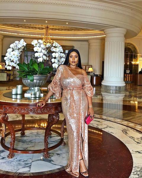 Sparkly Rose Gold Um Ombro Mangas Compridas Sereia Vestidos de Noite Africano Lado Superior Dividir Vestido de Baile Longo Formal Vestido de Festa Pageant