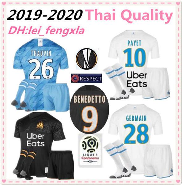 2019 Olympique de Marseille FUSSBALL Trikot Benedetto Erwachsene KIT MIT SOCKEN OM Herren SHIRT FULL SET 10 PAYET 19 L.GUSTAVO Maillot de foot OM