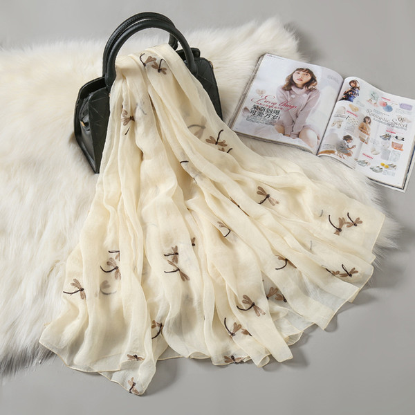 Dragonfly Pattern Beige and White Colour Scarf Size 180x70 Cm