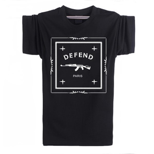 Letters Defend Paris Cotton Short Sleeve Men T Shirt Luxury Brand White Tshirt Loose Funny T-Shirt Logo in Tops and Tees