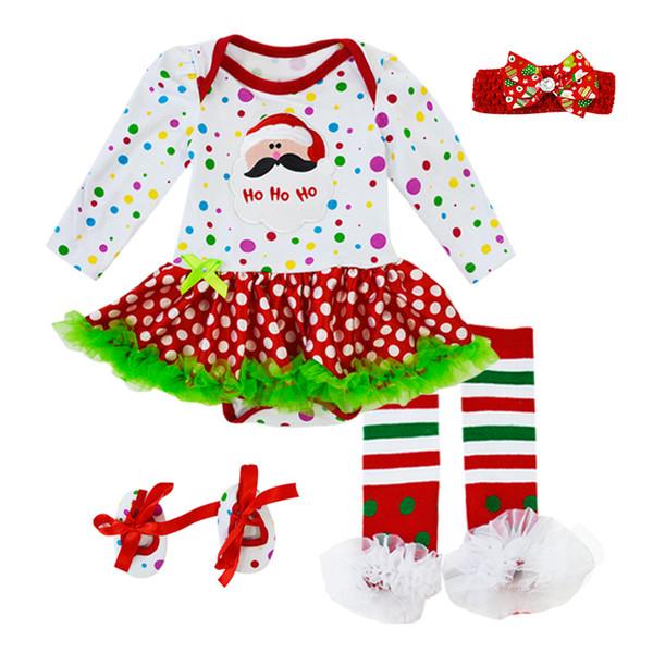vente en gros de noël bébé Swing Top bébé filles vêtements 6 PCS ensemble infantile à volants tenues Bloomer bandeau vêtements nouveau-né