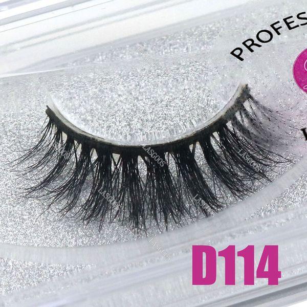 LASGOOS 1 Pair Boxed 100% Mink 3D Fluffy Fake Lashes Eye Beauty Downy Natural False Eyelashes D114