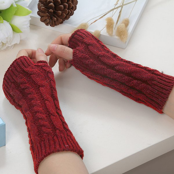 NIBESSER Winter half-finger Knitting Gloves Windproof Long Arm Sleeve Warm Arm Sleeve 2018 New European And American