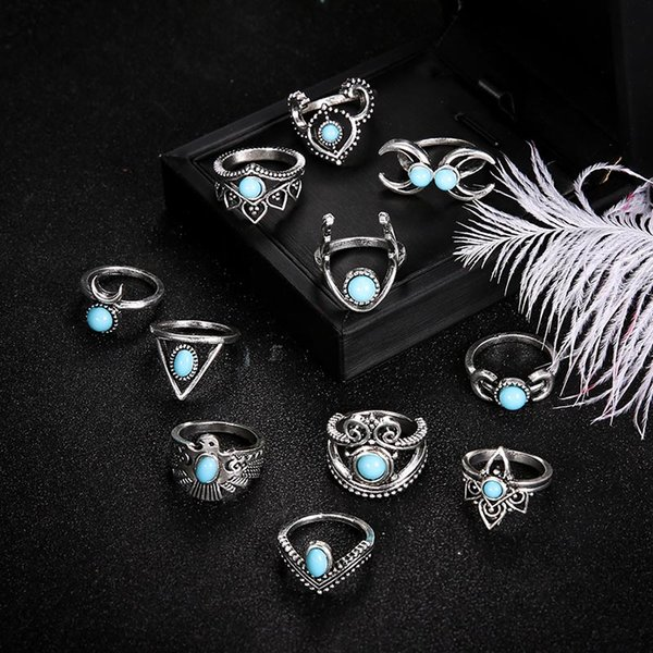 Turquoise Knuckle Ring Set Antique Silver Crown Moon Owl Drop Stacking Rings Midi Ring Women Designer Rings Jewelry K3623