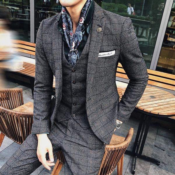 Herren Herbst und Winter British Style Suit Slim dreiteilige Hochzeitsanzug Smoking Set Slim Fit Man