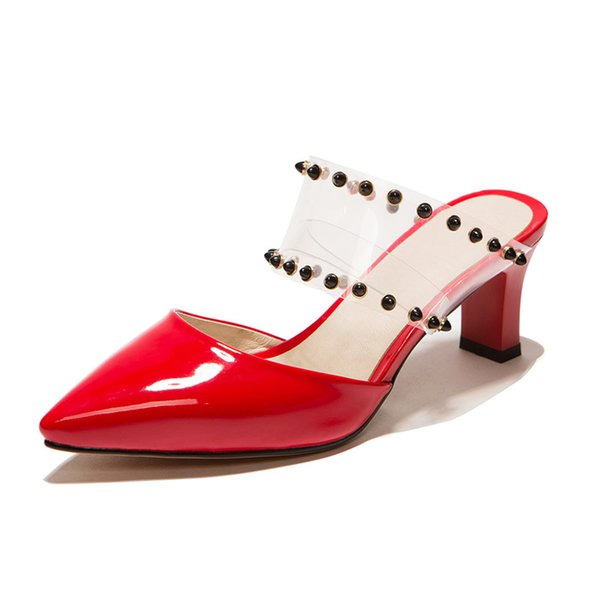 Toptan Siyah Perçin Jöle kadın Terlik Yaz Close Toes Ayakkabı Moda Kadın Slaytlar Kare Topuklu Sandalet Katır Ayakkabı Zapatos De Muje