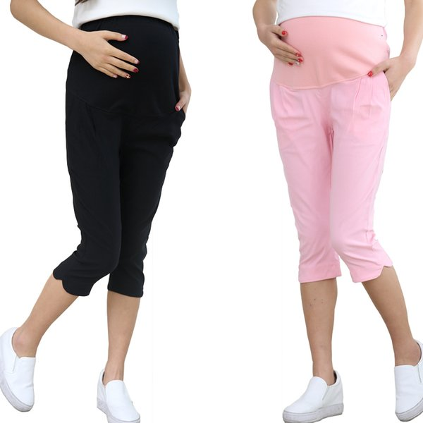 Nouveau pantalon court de maternité d'été coton élastique ventre shorts pantalons femmes enceintes pantalon taille ajustable 5XL SIZEMX190912