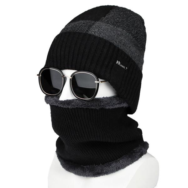 Dos piezas de invierno conjunto de gorro y bufanda para hombre Gorros de  invierno bufandas Snood d743b80edbf