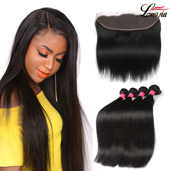 Brazilian Straight hair human hair bundles with lace Frontal Ear to Ear Lace Frontal Closure straight Virgin Hair 13x4 Frontal With Bundles