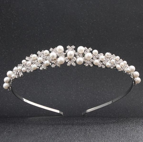 Stunning Sparkling Crystals Wedding Headbands Pearl Rhinestone Bridal Cheap Tiaras & Hair Accessories For Party Formal Wedding