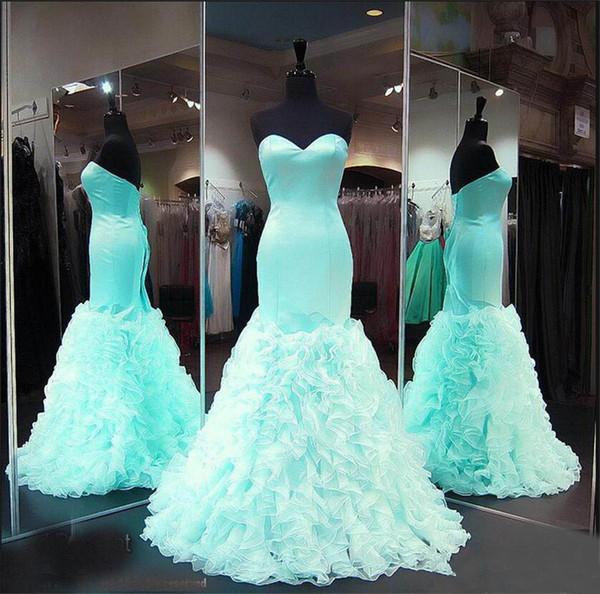Sweetheart Satin Ruffles Organza Formal Prom Gowns Seniors Evening Dresses Custom Made Mint Mermaid Prom Dresses