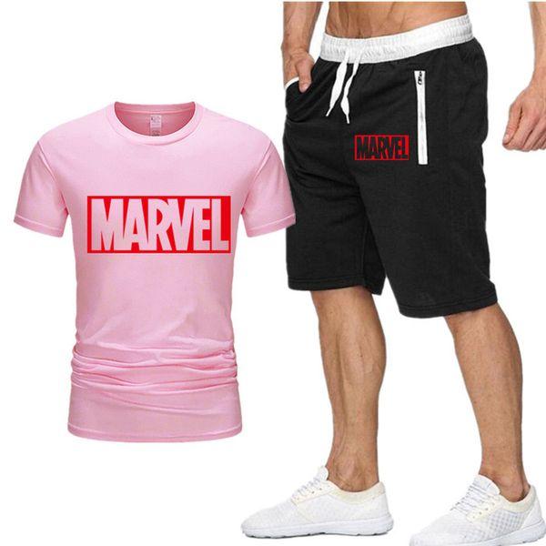Zweiteiliges Set Herren Marvel Captain America T-Shirt Kurzes Oberteil + Shorts Herren Marvel Trainingsanzüge New Fashion Sportswear Trainingsanzüge P2