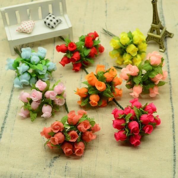 12 pcs Soie Roses Bouquet Bricolage De Noël Guirlandes Vases Pour La Maison De Mariage Décoration Accessoires Pas Cher En Plastique Fleurs Artificielles C19041803