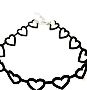 Japanese Soft Girl Black Hollow Love Necklace Female Neckband Net Red Clavicle Chain Simple Short Choker Jewelry Fairy