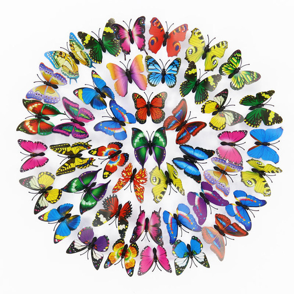 best selling Free shipping 200pcs PVC 3d Butterfly wall decor cute Butterflies wall stickers art Decals home Decoration room wall art