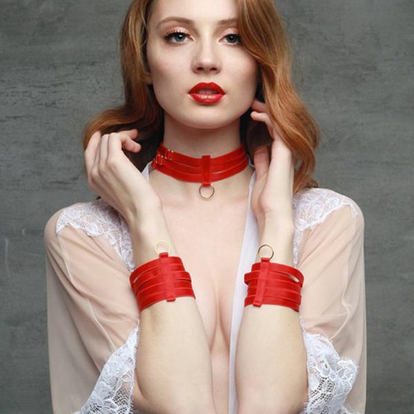 Rouge Bracelet élastique O-ring Polyester Harnes Collier Harnais Bracelet Ensemble Harnais Corps Cadeau de Saint Valentin