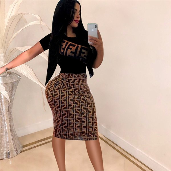 top popular 2019 Fashion Women Dress Summer Party Dress Bodycon Night Club Ladies Casual Short Sleeve Patchwork F Letter Print Sundress S-2XL A3233 2019