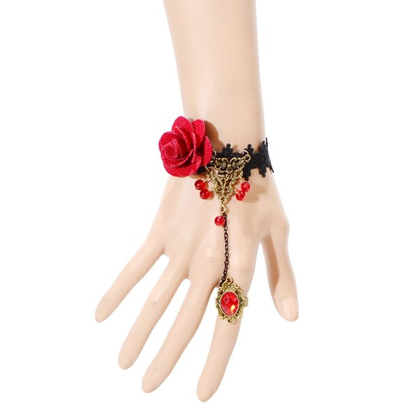 Women Retro Red Rose Lace Flower Wristband Slave Chain Bracelet for Party Bridal Bridesmaid Bouquet Lolita Gothic Style