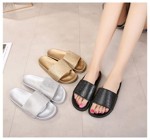Strass chinelos mulheres chinelos de verão mulheres cristal diamante bling praia desliza sandálias sapatos casuais deslizar no chinelo