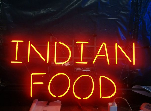 INDIAN FOOD Neon Sign Light Advertising Bar Entertainment Club Decoration Art Display Glass Lamp Metal Frame 17'' 24'' 30''40''