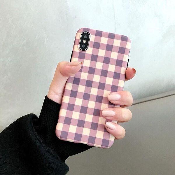 Phone Case YunRT Corea Pink Plaid per Iphone Xs Max Vintage Griglia Custodia morbida TPU per l'iPhone 7plus 7 8 6s X copertura posteriore di Carino