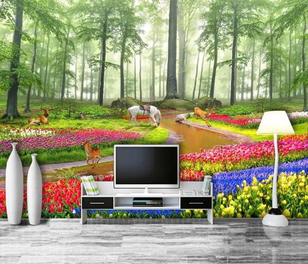 ustom Photo Wall Paper 3D Modern TV Background Living Room Bedroom Rose flower living room Wall Covering Wallpaper