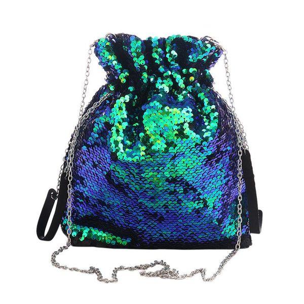 Meerjungfrau Farbe Pailletten Damen Kordelzug Handtasche Mode Pailletten Umhängetasche