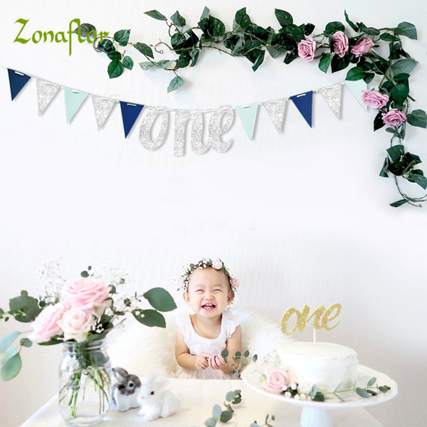 Cheap DIY Decorations 1st Boy Girl 12 Month Baby Shower Banner Baby First Birthday Party Decorations Kids Birthday Party Decoration