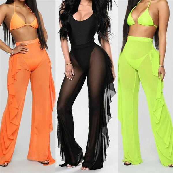 best selling Sexy Women See-through Pants Bikini Cover Up Mesh Ruffle Bottoms Plus Size Loose Long Trousers Beachwear Swimwear Swimsuit
