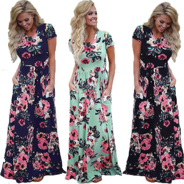 Elegant Dress Women Long Dresses Summer 2019 Boho Print Dress Vintage Bohemian Maxi Vestidos Plus Size Sundress Female 3XL