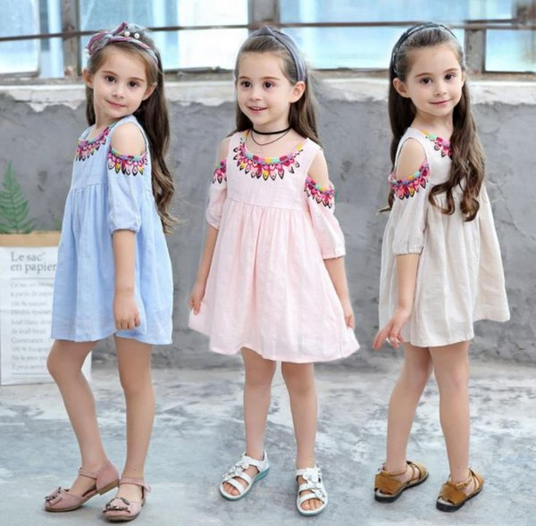 2019 spring and summer Korean version of the new girls cotton jacquard dresses print lipstick dress baby clothes