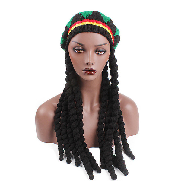 Hip Hop Hat Miya Mona Men Novelty Knitted Wig Braid Bob Marley Rasta Beanie Male Jamaican Tassel Hair Accessories Halloween Costumes