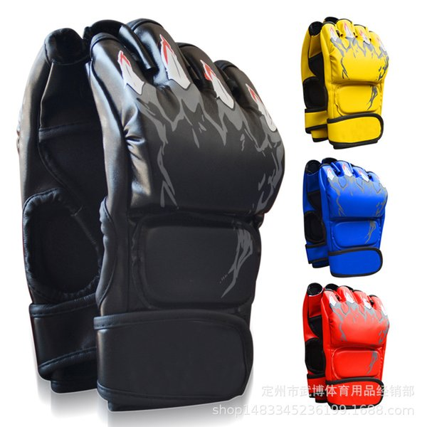 Half Mitts PU Leather Boxing Gloves for training MMA Gloves Muay Thai Training Gloves MMA Boxer Fight Boxing Equipment Black/Red/Blue