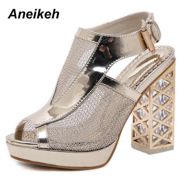 985ce08528 Aneikeh 2019 New Summer Sandal Sexy Golden Bling Gladiator Sandals Women  Pumps Shoes Fashion High Heels Sandals Boots Leather Boots For Women Sporto  ...