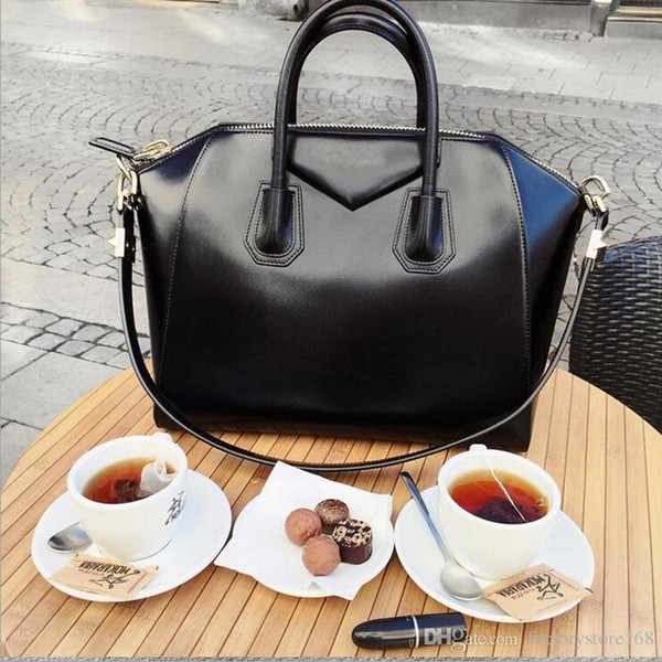 Casual Tote Women Shoulder Bags Cow Genuine Leather Luxury Bags Designer Brand Female Handbags Hobos Crossbody Bags Black