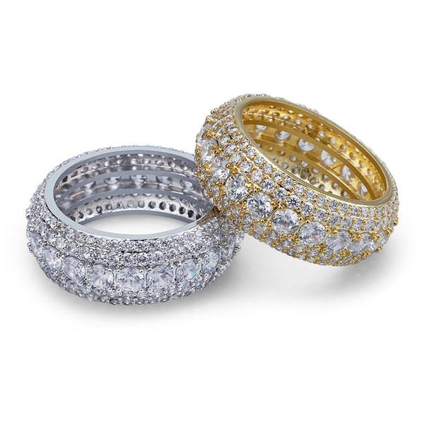 Bijoux de fantaisie Mens anneaux d'or Hip Hop anneau glacé bague Micro pavé CZ diamant bague de fiançailles mariage