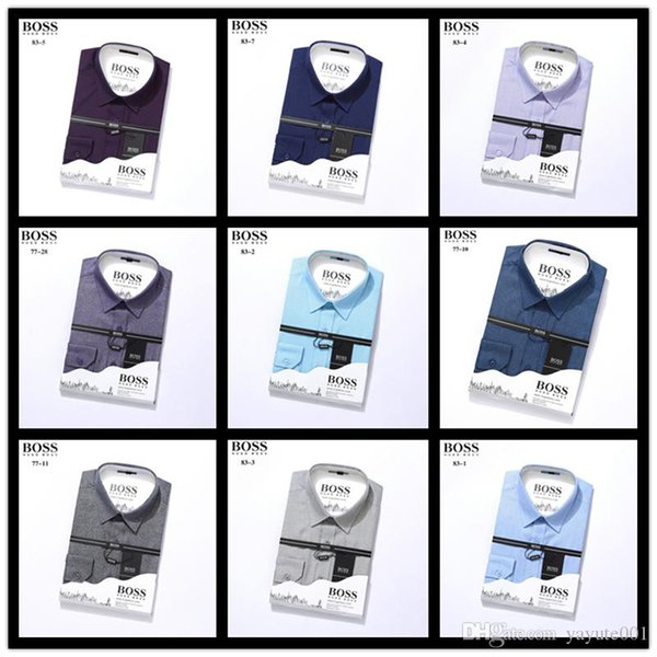 designers Famous Brand Men's Shirt Long Sleeve Casual Slim Fit Mens Dress Shirts Check Plaid Camisa Social Masculina Plus Size M-4