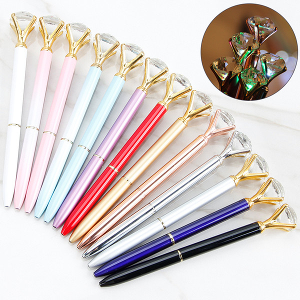 best selling LED Light Big Diamond Pen Creative NEW Design Super Crystal Light Metal Ballpoint Pens Writing Stationery Office School Student Gift