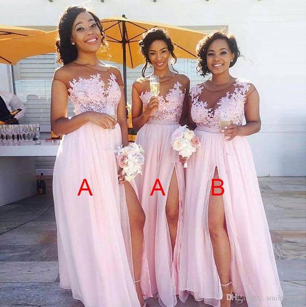 Perfect Pink 2018 Bridesmaid Dresses Long Side Split A Line Chiffon Floor length Maid of the Honor Dresses Plus Size Custom Made SB013