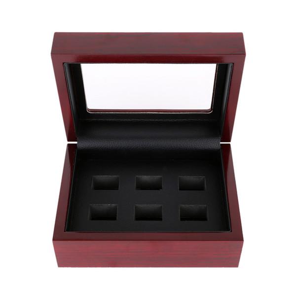 Display de madeira anel caixa campeão grande pesado anel exibir caixa de madeira (2/3/4/5 / 6/7 buracos) (vermelho)