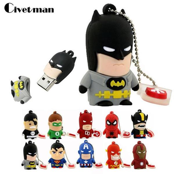 Top vente pas cher prix Cartoon Super Flash USB Clé USB 8GB 16GB 32GB 64GB Iron Man Mémoire Flash Batman Pendrive Captain America Pen Drives