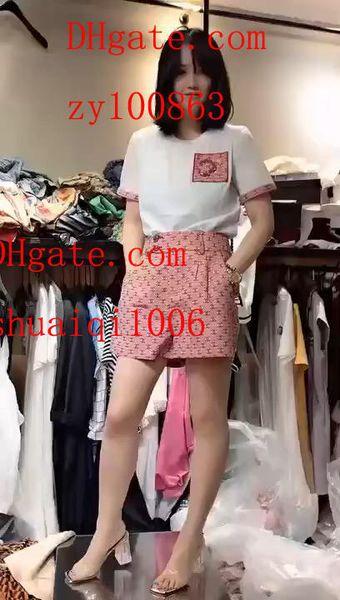 2019 yaz elbise kadın Eşofman Beyaz baskılı kısa kollu T-Shirt + Pembe baskılı etek kadın 2 adet suit Yüksek kalite kadın giyim BC-2