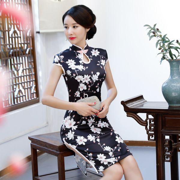 New Black Rayon Chinese Traditional Women Qipao Vintage Oriental Female Cheongsam Novelty Chinese Formal Dress M L XL XXL 3XL