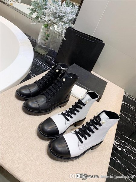 fashion_company / Mulheres Martin Ankle Boots em couro, Botas da moda Sneaker com pérola Lady plataforma Sandálias para os amantes do partido Bota de couro 35-40